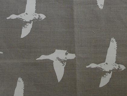 Natural 100% Linen duck print tea towel - flock of birds