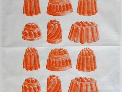 Cotton tea towel, orange Jelly print Tea towel