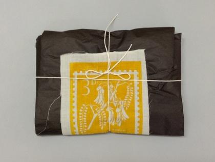 Natural 100% Linen crown lynn swan print tea towel