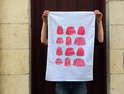 Cotton tea towel, Red Jelly print Tea towel, Strawberry jelly!