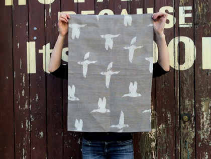 Natural 100% Linen duck print tea towel - flock of birds