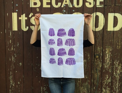 Cotton tea towel, purple Jelly print Tea towel, Boysenberry jelly!