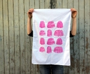 Cotton tea towel, pink Jelly print Tea towel, rasberry jelly!