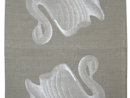 Natural 100% Linen swan vase print tea towel