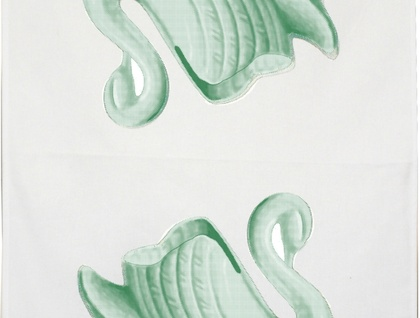 Linen tea towel, mint green vintage swan vase retro tea towel