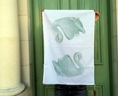 Cotton tea towel, mint green vintage swan vase retro tea towel