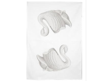 Cotton tea towel, taupe swan vase retro tea towel