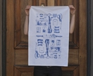 Cotton tea towel, Delft blue vintage kitchen