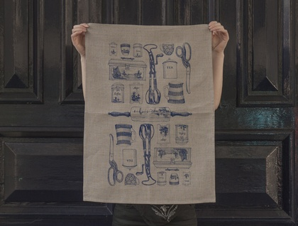 Natural 100% Linen Delft blue vintage kitchen tea towel