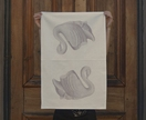 Cotton tea towel, taupe swan vase retro tea towel