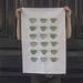 Cotton tea towel, mint green vintage tea cups kitchen dish cloth