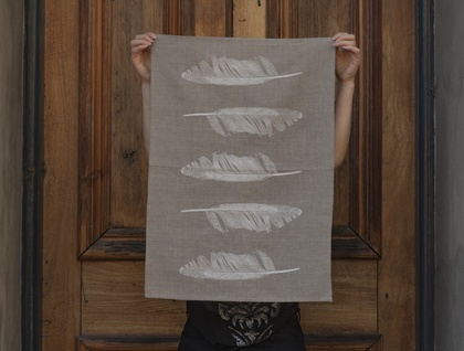 Natural 100% Linen White feather kitchen tea towel