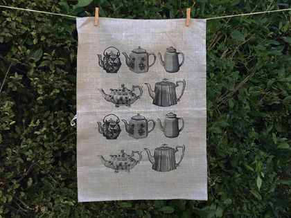 Natural 100% Linen Black vintage teapots kitchen tea towel