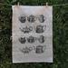 Natural 100% Linen Black vintage teapots kitchen tea towel