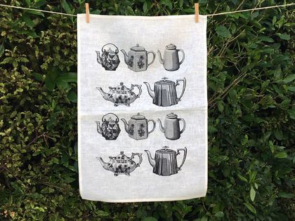 Cream linen Black vintage teapots kitchen tea towel