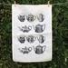 Cream linen Black vintage teapots kitchen tea towel