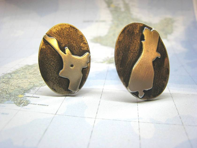 Sterling Silver Oxidised North and South Island Cuff Links