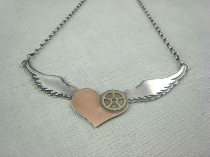 Winged Heart Steampunk Necklace