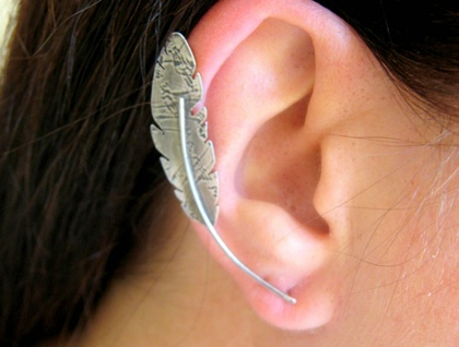 Sterling Silver Feather Ear Cuff, Ear Sweep, Ear Climber