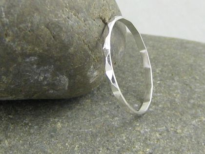 Sterling Silver Faceted Stacker Ring