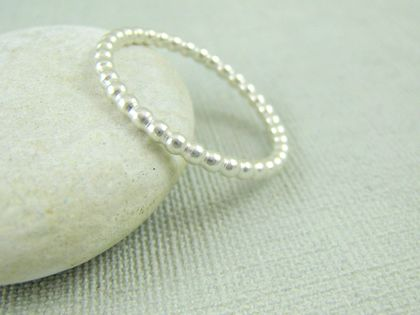 Sterling Silver Beaded Stacker Ring