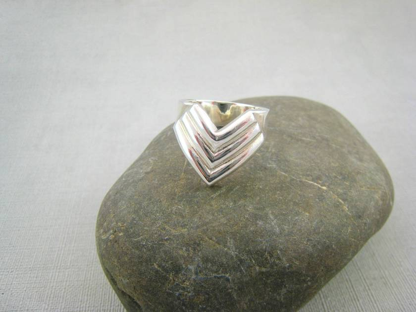 Triple Chevron Ring