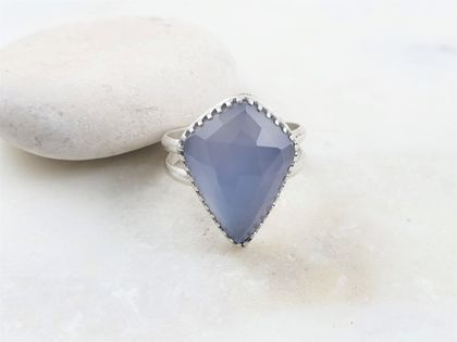 Rosecut Blue Chalcedony Sterling Silver Ring