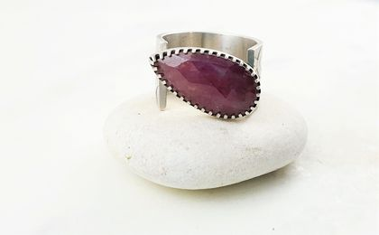Teardrop Pink Sapphire Sterling Silver Ring