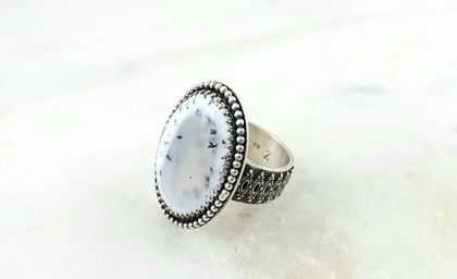 Rosecut Dendritic Opal Sterling Silver Ring