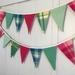 Woollen Blanket Bunting - Green & Pink