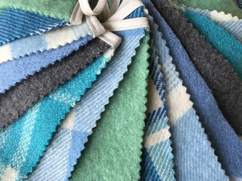 Woollen Blanket Bunting - Green & Blue