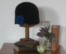 Black wool / angora hat with sea urchin rosette