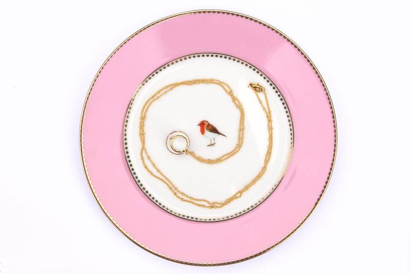Miniature Rose Porcelain Teacup Necklace with 18K Gold Plated Chain