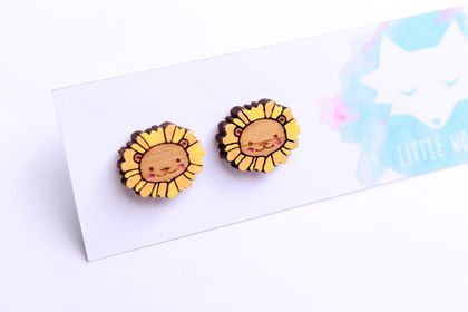 Hand Painted Laser Cut Bamboo Lion Stud Earrings
