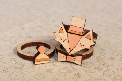 Handmade Fancy Fox Laser Cut Wood Stackable Ring Set (size 8 US)