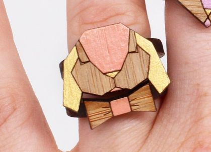 Babin' Bunny Laser Cut Bamboo Stackable Ring Set (Size 7 1/4 US)