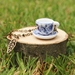 Handmade Floral Porcelain Teacup Necklace with Fine Beaded Antique Bronze Chain