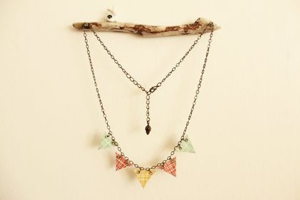 Handmade Mini Crosshatch Fabric Bunting Necklace with Short Antique Bronze Chain