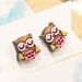 Hand Painted Laser Cut Wood Owl Stud Earrings