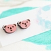 Hand Painted Laser Cut Wood Koala Face Stud Earrings