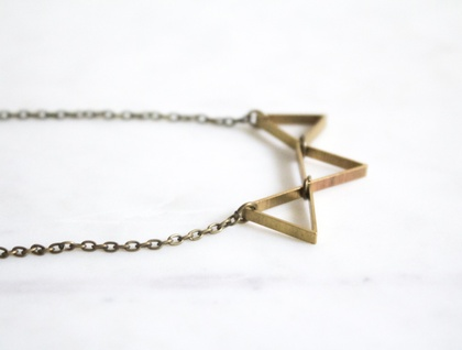 Brass Triangle Bunting Necklace