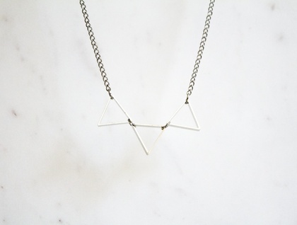 Silver Triangle Bunting Necklace