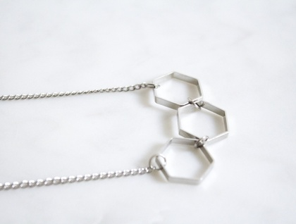 Silver Hexagon Bunting Necklace