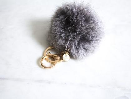 Motley Grey Fluffy Pom Pom Keyring