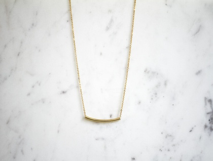 Slimline Tube Necklace - Gold