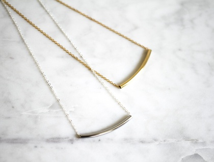 Slimline Tube Necklace - Silver