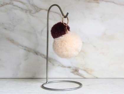 Cream and Maroon Fluffy Pom Pom Keyring