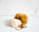 Mustard and Cream Fluffy Pom Pom Keyring