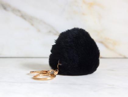 Black Fluffy Pom Pom Keyring
