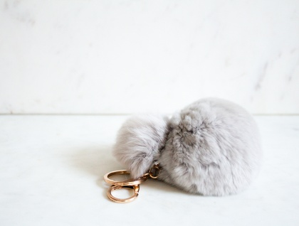 Smoke Grey Double Fluffy Pom Pom Keyring